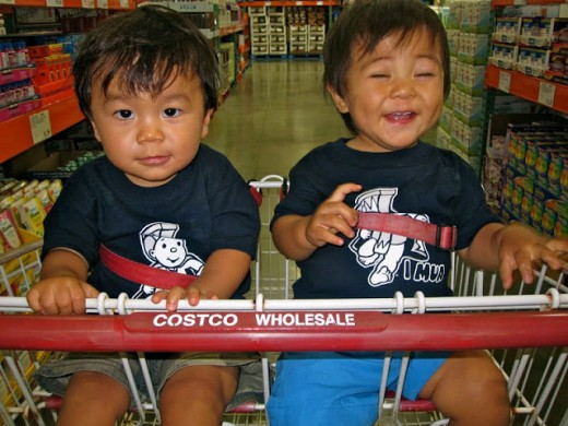 Kalau and Ryder at Costco on Kaua'i