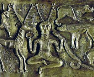 The god Cernunnos  depicted on the Gundestrup Cauldron.