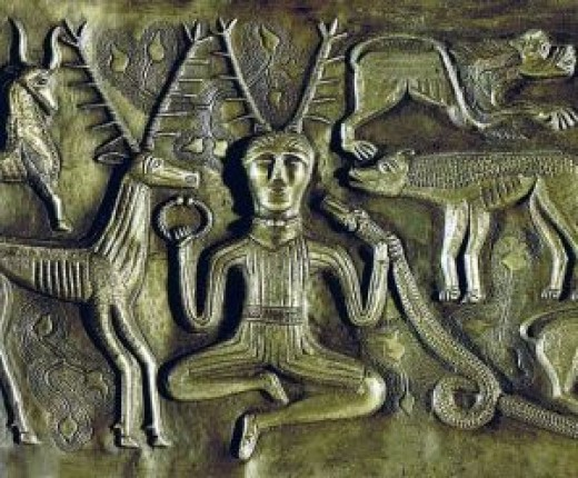 The god Cernunnos  depicted on the Gundestrup Cauldron.