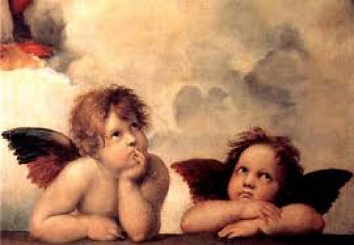 Cherub are in the presence of God. They are often depicted in artwork such as paintings and drawings among other ways.