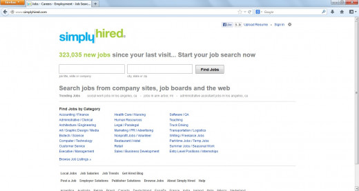 SimplyHired.com is a search engine for job listing.