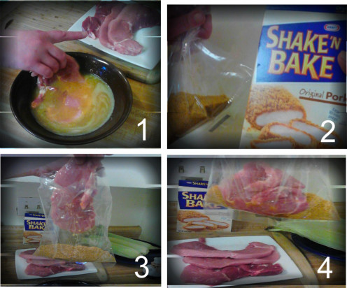 1.Dip Pork Chop in Egg Batter  2.Pour Crumb Packet into Plastic Bag 3.Drop Dipped Chop into Plastic Bag 4.Kids love this recipe