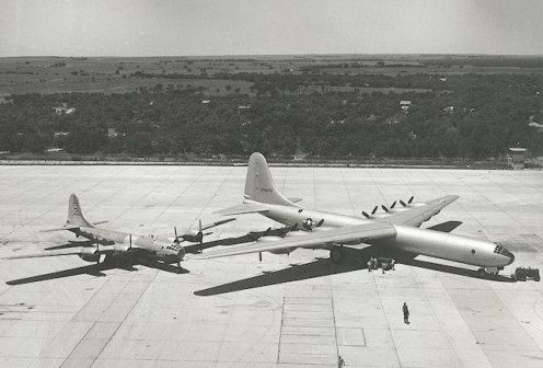 The XB-36 parked next to a Boeing B-29 for size comparison