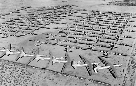 """The B-36 ended her days at the """"boneyard"""" Davis Monthan AFB, Az. scrapped after retirement"""