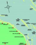 A map of the area of the North Norfolk coast showing sand banks in the area