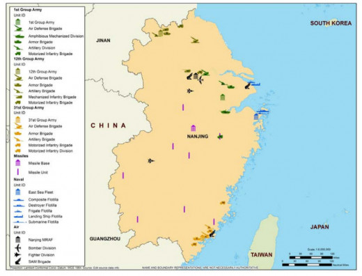 Major deployments near Taiwan