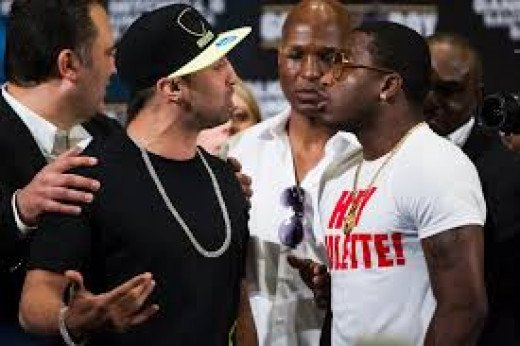 """Paulie Malignaggi talking trash with another big trash talker Adrien """"The Problem"""" Broner. Broner won their bout by close 12 round decision."""