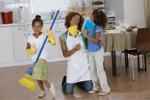 Get everyone involved, even with small kid size cleaning supplies.