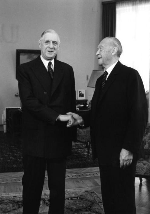 Konrad Adenauer and Charles de Gaulle, 1958