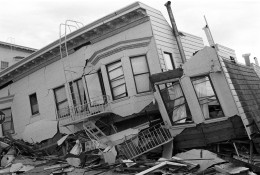 Despite the severe earthquake that caused ground subsidence, the wooden house remained more or less in one piece. Furniture inside would have presented a hazard.