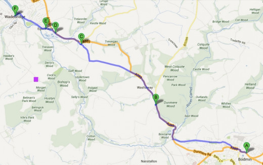 Route and Murder Place: This map shows the route from Bodmin (A) to Wadebridge (F) and the murder spot (C)
