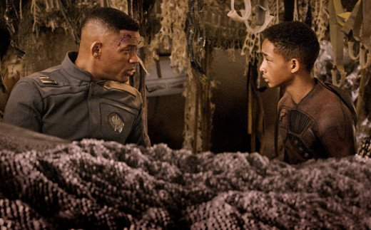 Will Smith (left) and his son Jaden star in the thriller AfterEarth about a father and son who crash land on a future Earth and must fight for survival against the evolved denizens of the post-apocalyptic planet.