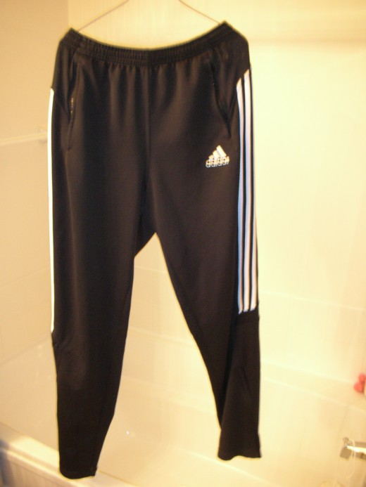 Addidas soccer warm-up bottom. You can do it all and be comfortable in these when you travel.