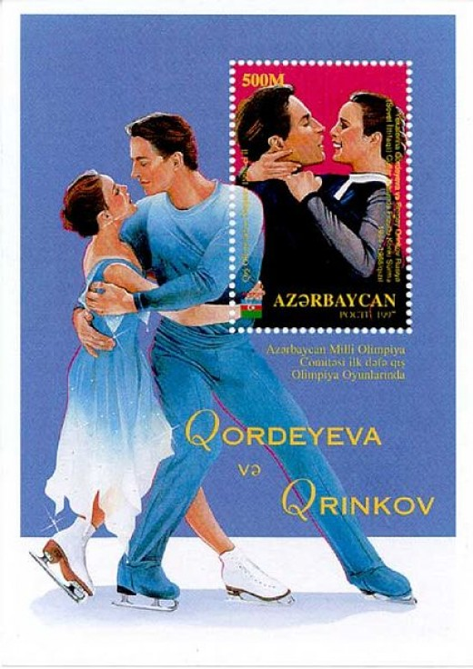 Gordeeva and Grinkov on a postage stamp from Azerbaijan. Grinkov was a talented figure skater that died at the young age of 28.