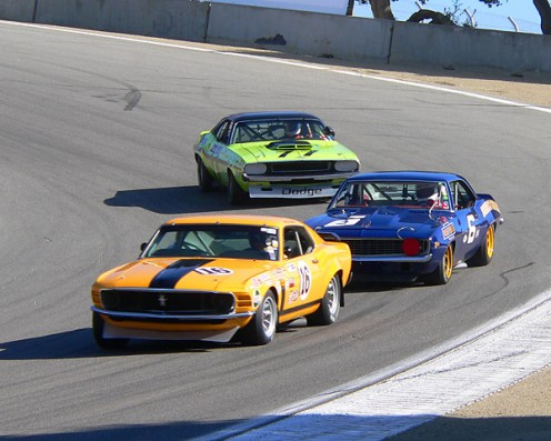 Boss 302 leading the way down the track
