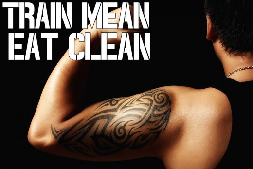 Motivational Quotes For Exercise/Workout, Tattooed Muscular Ripped Biceps(Train mean, eat clean)