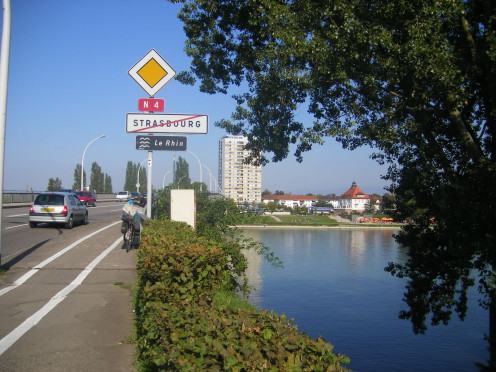 Strasbourg - Bridge over the Rhine. Kehl is seen in the background.