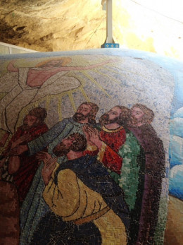 Christian mosaic at Coptic Church Garbage City Egypt