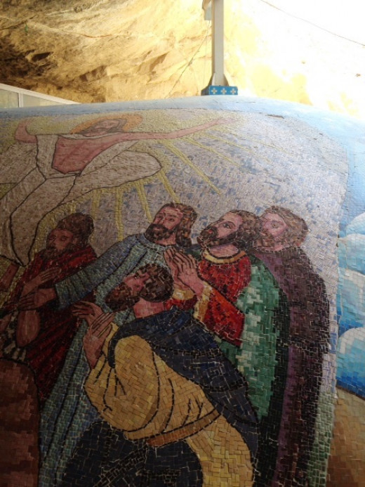 Christian mosaic at Coptic Church Garbage City Egypt