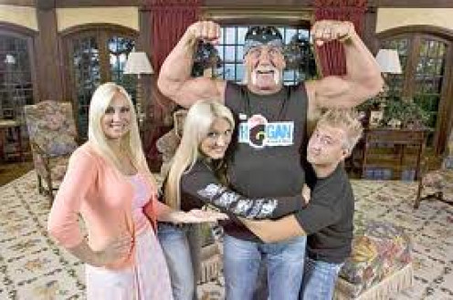 Hulk Hogan with his then wife and his son and daughter, Brook. Hogan has had success as a wrestler, reality star and movie star.