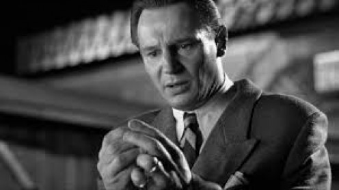 Schindler's List stars Liam Neesan as Oskar Schindler. It centers around the horrors of Hitler's Germany in the late 1930's.
