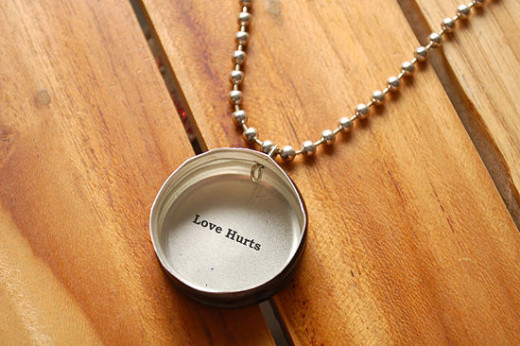 A representation of a necklace with a message on it.