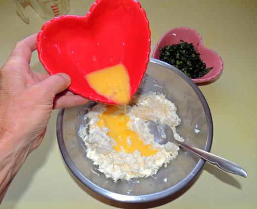 add beaten egg