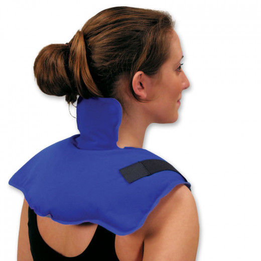 Here is an example of a trisectional hot and cold pack that can be used on the neck, upper back and shoulders. Notice also that it has straps to keep it in place.