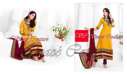 Yellow salwar suit with maroon dupatta and pants