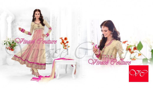Offwhite and magenta net salwar kameez suit