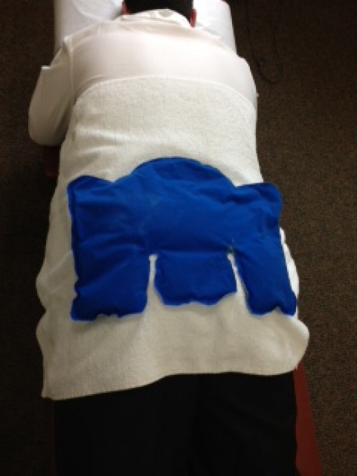Using a hot and cold pack on the lower back area.