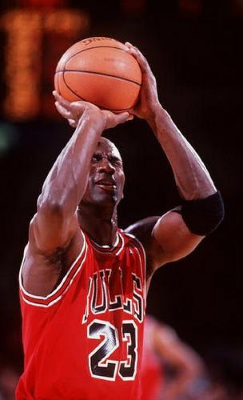 Michael Jordan closes his eyes and lands a free throw during an NBA game. He was far ahead of his contemporaries and the world will enter know another M.J.