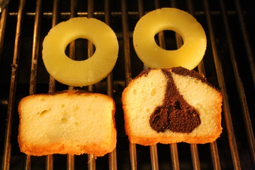 Grilling Pound Cake and Pineapple Rings.