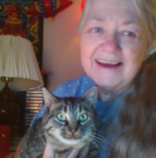 Here's Dixie and Me last November.  I don't have any pictures of the kittens yet.