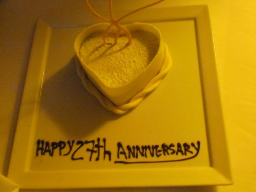 We celebrated our 27th anniversary while in Cozumel. At least twice during our stay, we received this delicious little dessert upon returning to our room in the evening as well as a bottle of champagne.