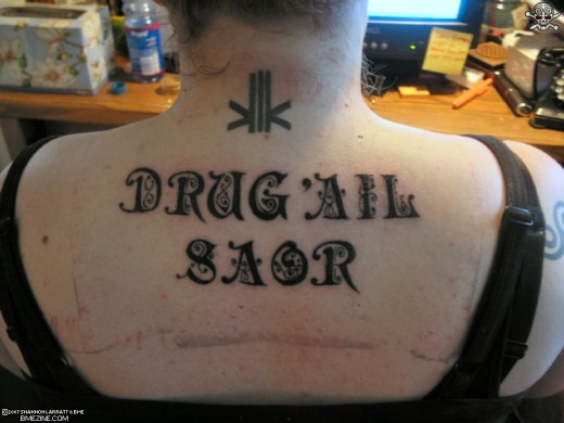 "Gaelic for ""drug free"""
