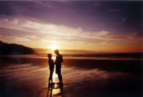 A romantic moment for two in the beautiful sunset