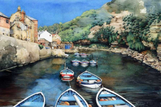 """Staithes Beck"" watercolour by Helen Lush.  Here the eye follows the boats along the stream."