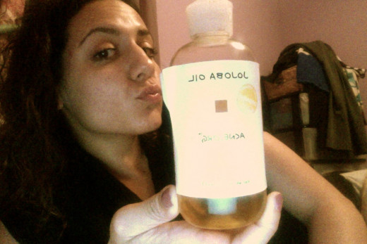Here I am with my handy dandy Jojoba oil!  You can use whichever one you want but this is what I use!