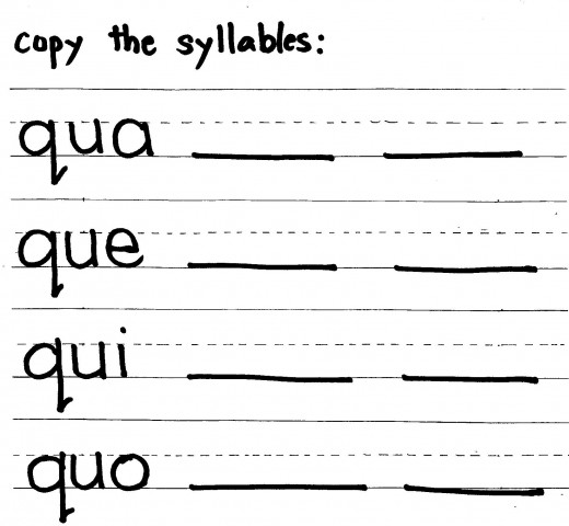 Worksheet for qua que qui