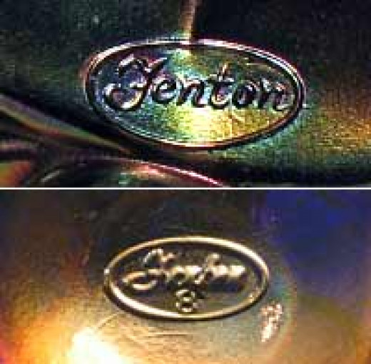 Fenton Mark older and newer mark with and 8 to signify the decade it was made