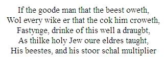 Chaucer's Pardoner's Tale, line 33