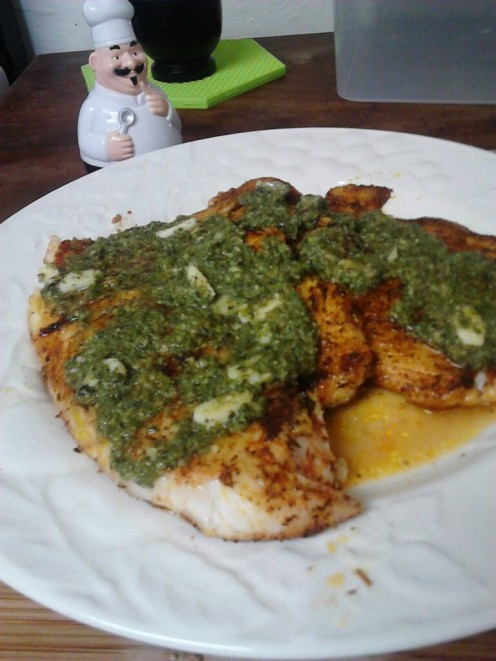 Tilapia with a Lime Garlic Butter Sauce.