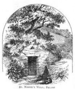 St Nun's Holy Well at Pelynt, 3 miles north of Polperro.   St. Nun's Well Pelynt England Blight A print from Crosses in Cornwall