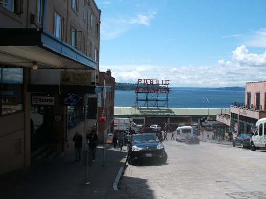 Pike Place Market Overlooking the Elliott Bay Waterfront