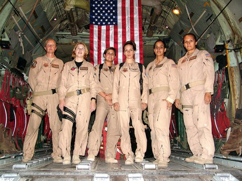 Staff Sgt. Josie E. Harshe, flight engr; Capt. Anita T. Mack, navigator; 1st Lt. Siobhan Couturier, pilot; Capt. Carol J. Mitchell, aircraft commander; loadmasters Tech Sgt. Sigrid M. Carrero-Perez & Sr Airman Ci Ci Alonzo. Iraq, Afghanistan, Africa.
