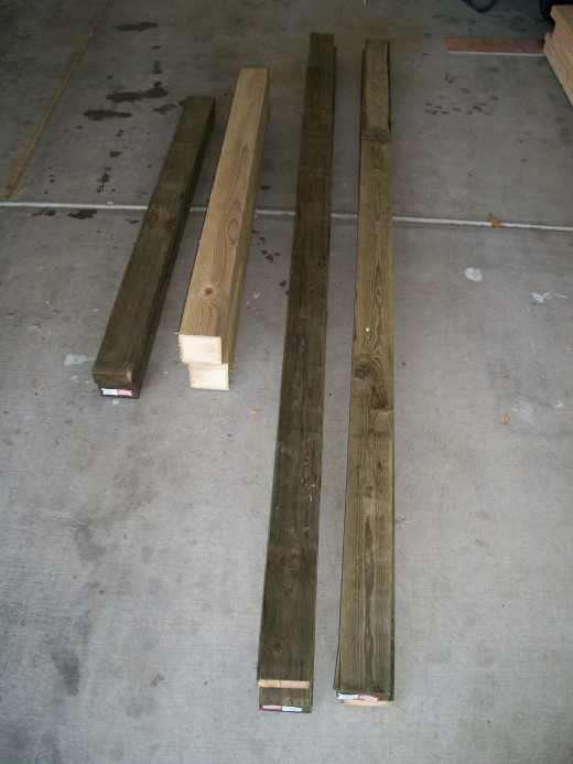 Treated lumber ready for assembly.
