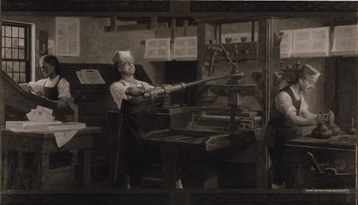 Reproduction of a Charles Mills painting by the Detroit Publishing Company. Depicts W:Benjamin Franklin at work on a printing press.