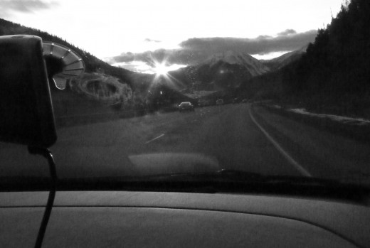 View from the front seat in the Rockies