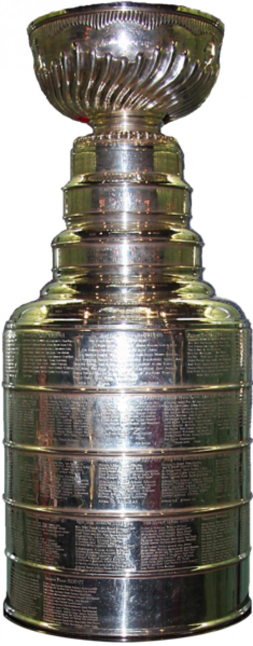 The trophy for winning the NHL Stanley Cup playoffs as seen on display in Pennsylvania